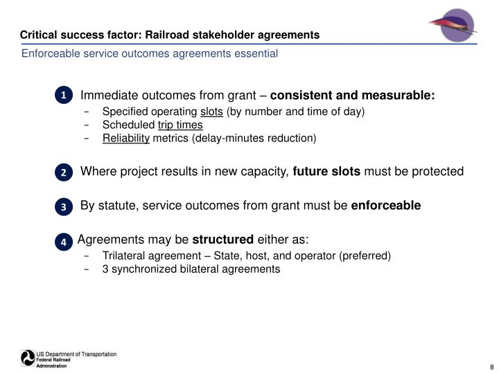 Critical success factor: Railroad stakeholder agreements