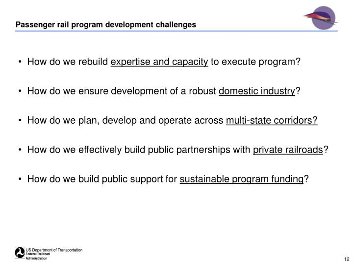 Passenger rail program development challenges