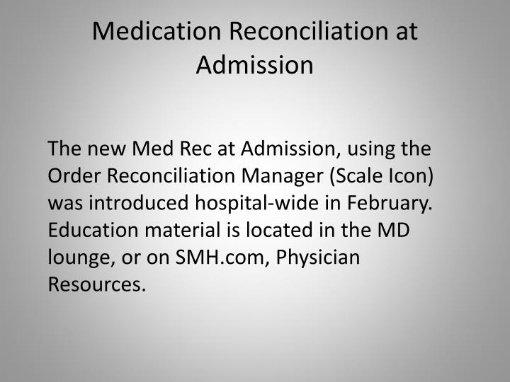 Medication Reconciliation at Admission