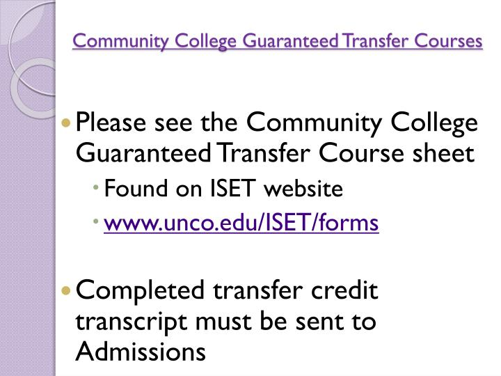 Community College Guaranteed Transfer Courses