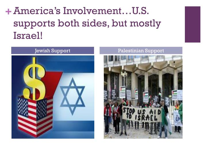 America's Involvement…U.S. supports both sides, but mostly Israel