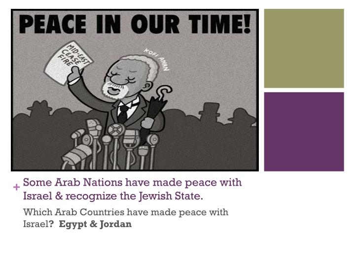 Some Arab Nations have made peace with Israel & recognize the Jewish State.