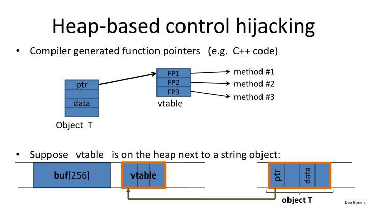 Heap-based control hijacking