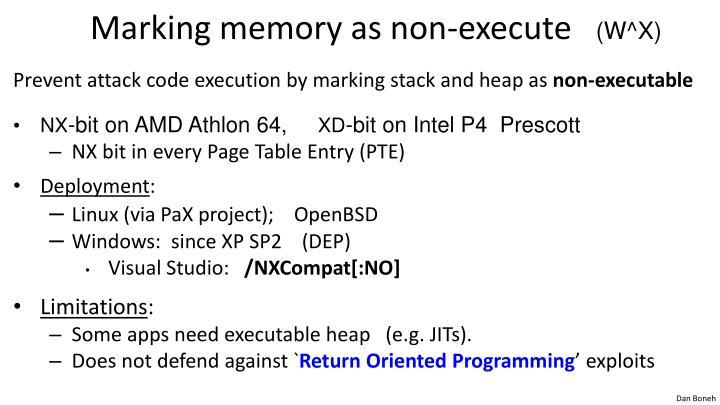 Marking memory as non-execute