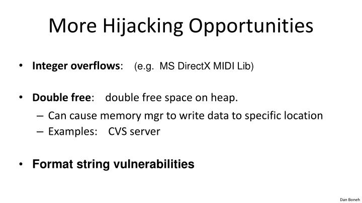 More Hijacking Opportunities
