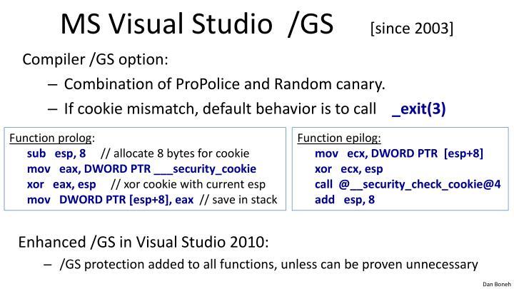 MS Visual Studio  /GS