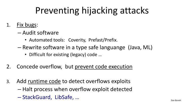 Preventing hijacking attacks