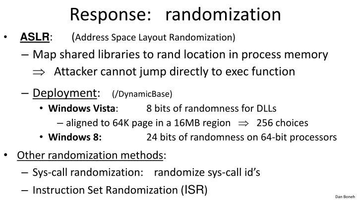 Response:   randomization