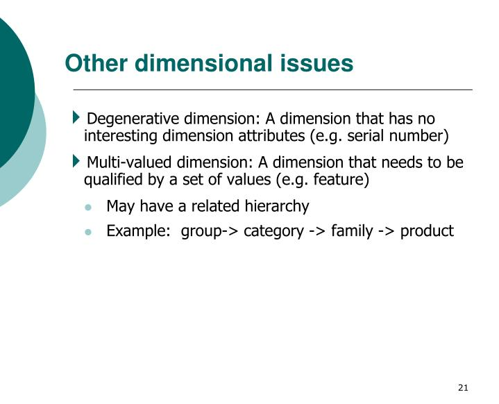 Other dimensional issues