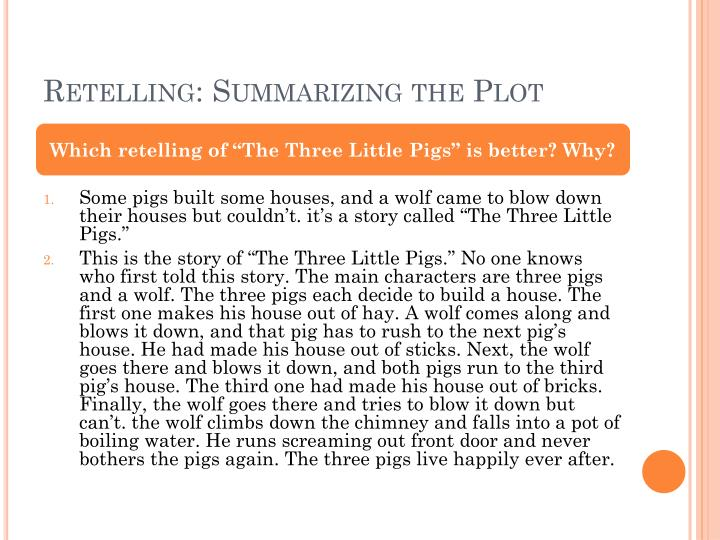 Retelling summarizing the plot