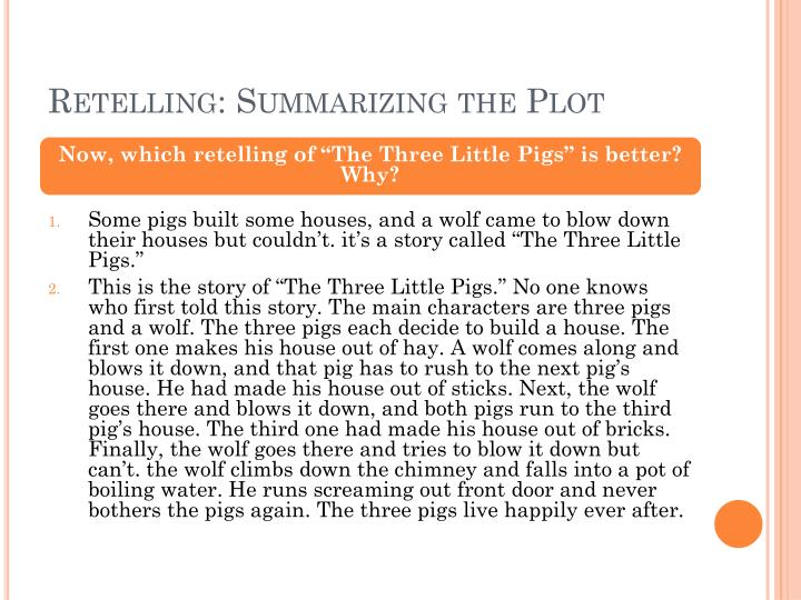 Retelling summarizing the plot1