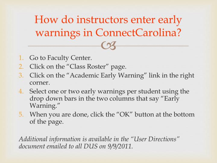 How do instructors enter early warnings in