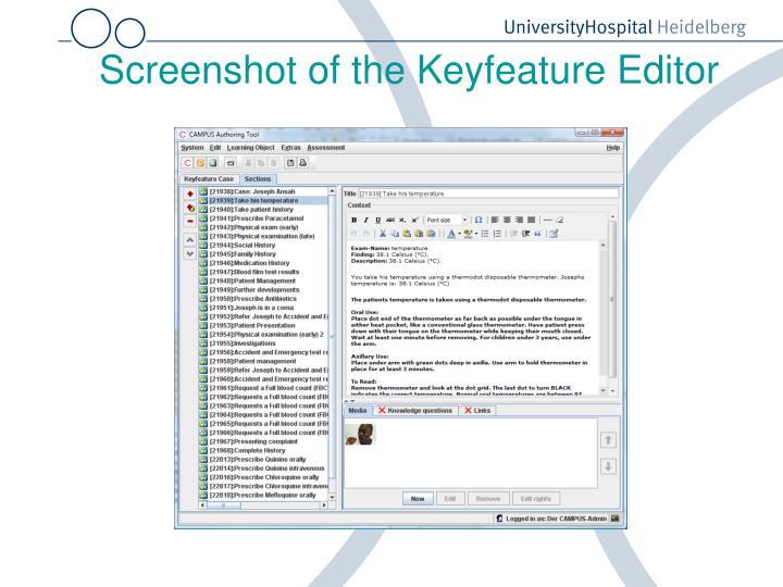 Screenshot of the Keyfeature Editor