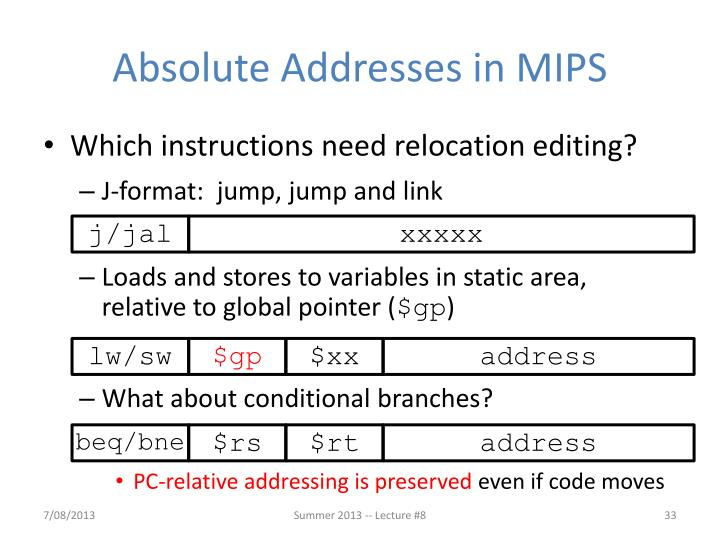 Absolute Addresses in MIPS