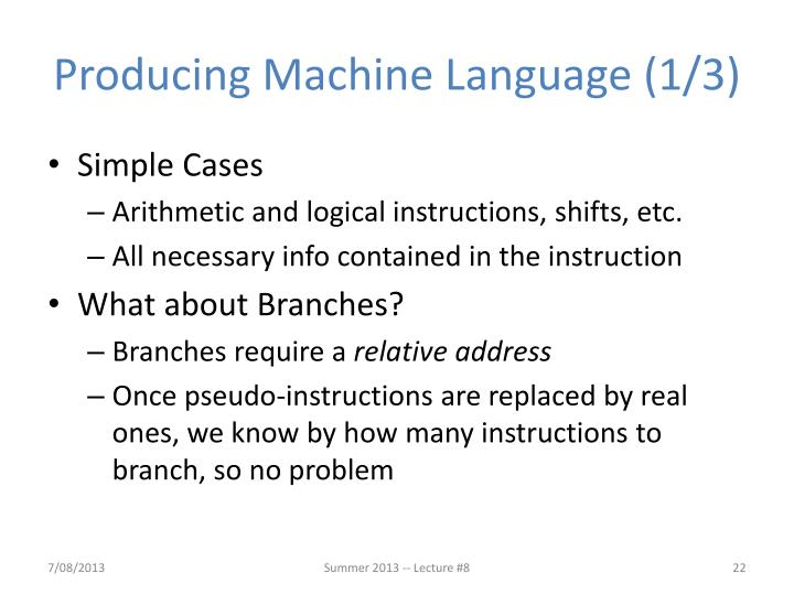 Producing Machine Language (1/3)