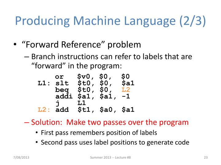 Producing Machine Language (2/3)
