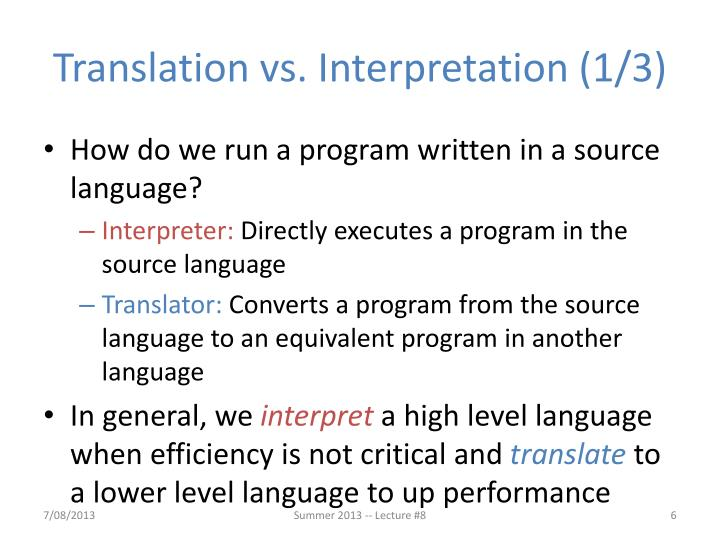 Translation vs. Interpretation (1/3)