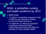 goal a smokefree nursing and health workforce by 2013