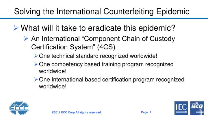 Solving the International Counterfeiting Epidemic