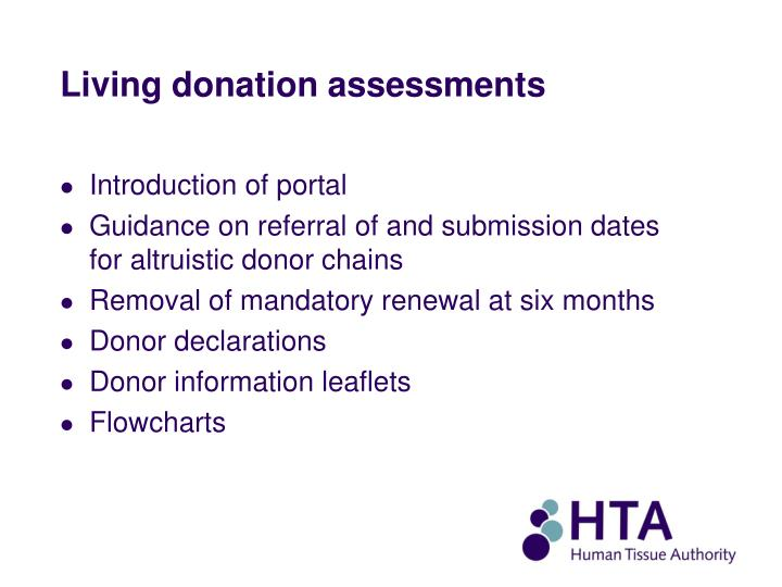 Living donation assessments