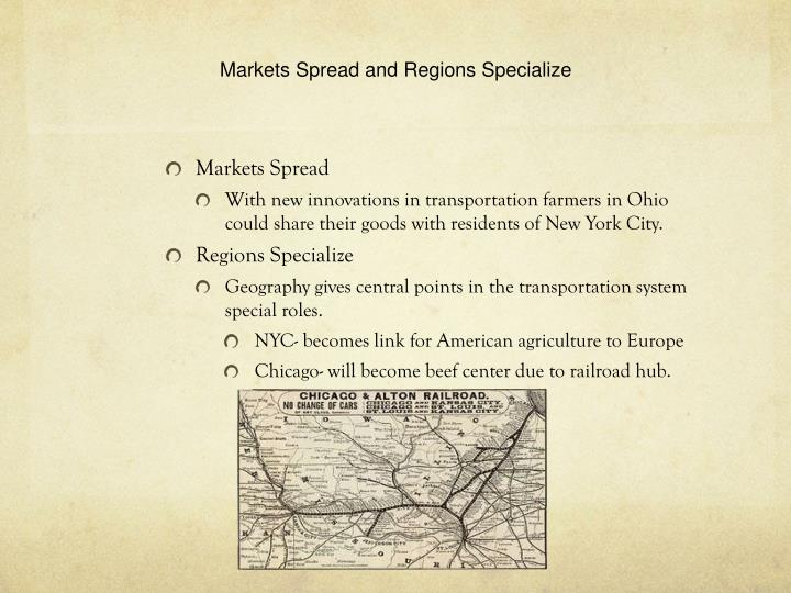 Markets Spread and Regions Specialize