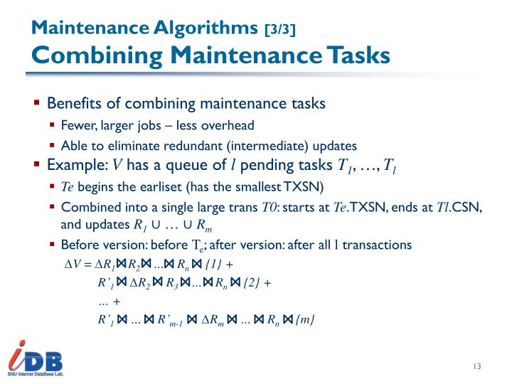 Maintenance Algorithms