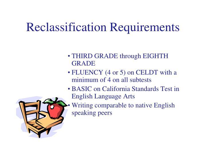 Reclassification Requirements