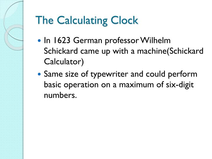 The Calculating Clock