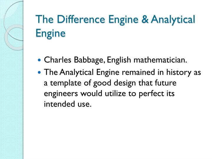 The Difference Engine & Analytical Engine