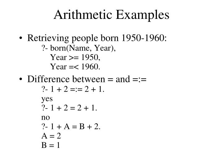 Arithmetic Examples