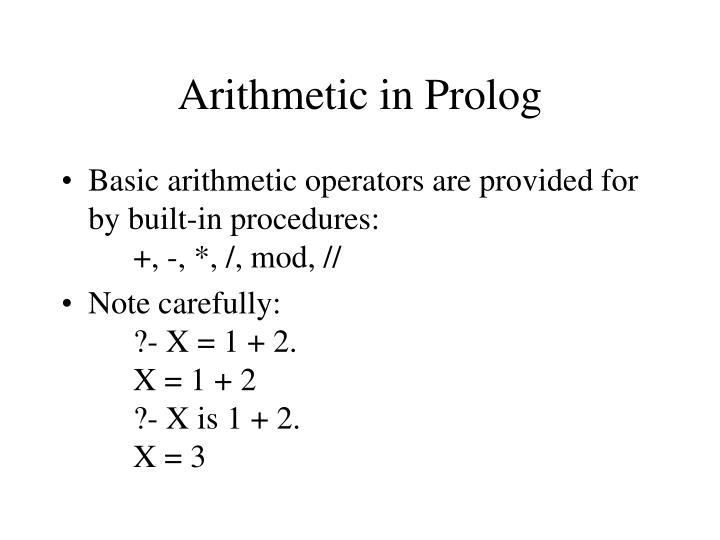 Arithmetic in Prolog
