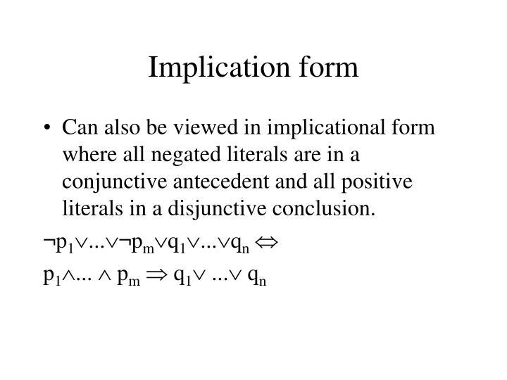 Implication form