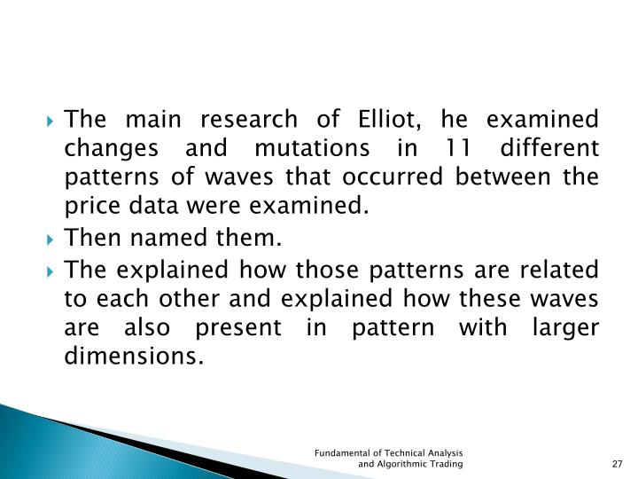 The main research of Elliot, he examined changes and mutations in 11 different patterns of waves that occurred between the price data were examined.