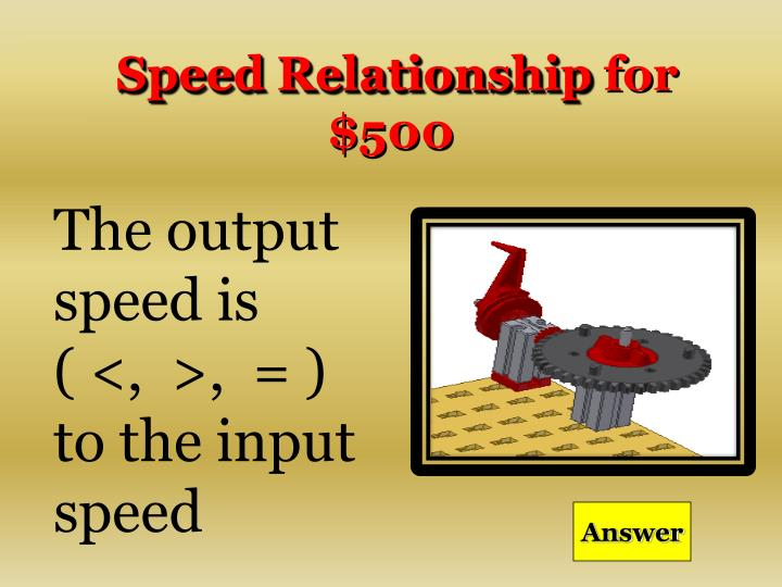 Speed Relationship