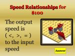 speed relationships for 100