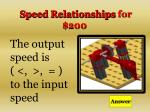 speed relationships for 200