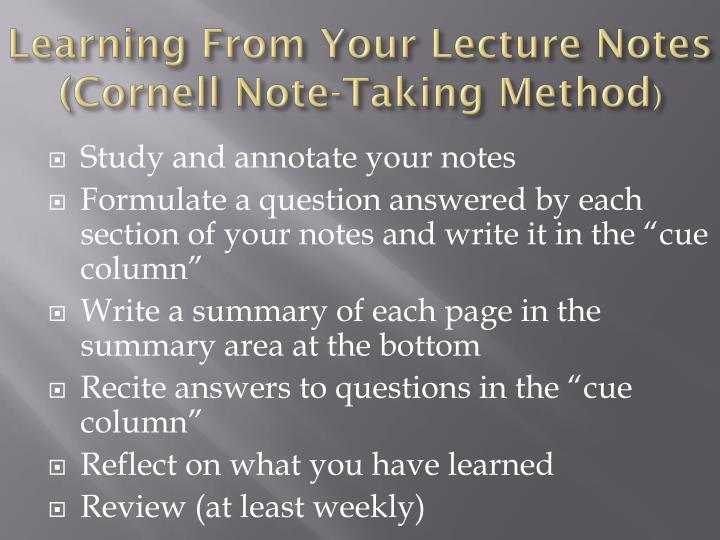 Learning From Your Lecture Notes (Cornell Note-Taking Method