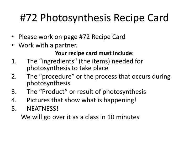 72 photosynthesis recipe card