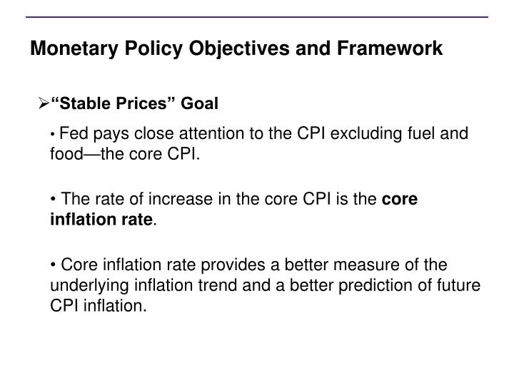 Monetary policy objectives and framework2