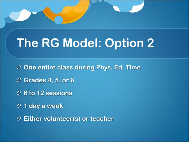 The RG Model: Option 2