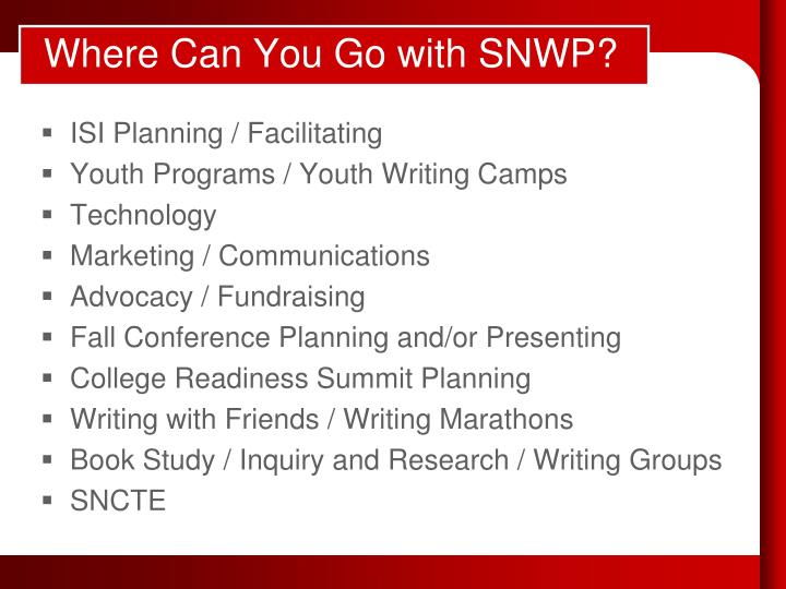 Where Can You Go with SNWP?
