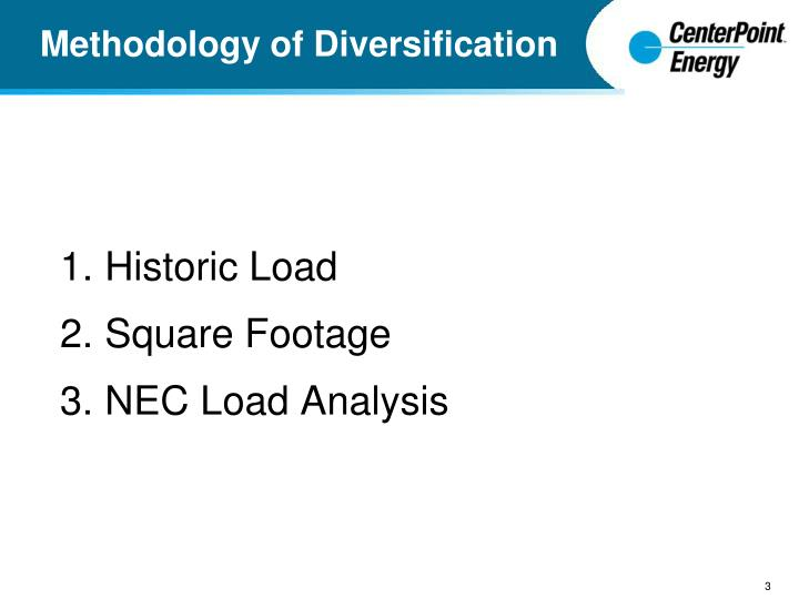 Methodology of diversification