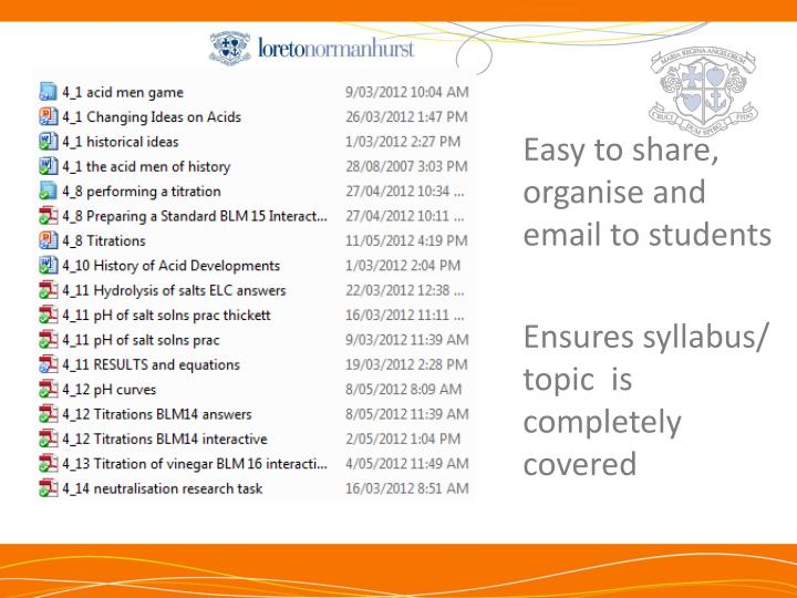 Easy to share, organise and email to students