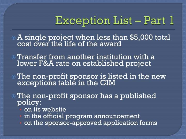 Exception List – Part 1