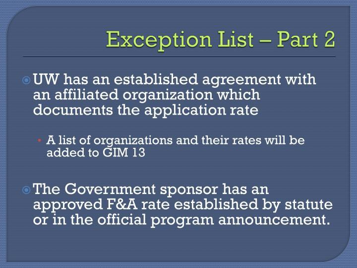 Exception List – Part 2