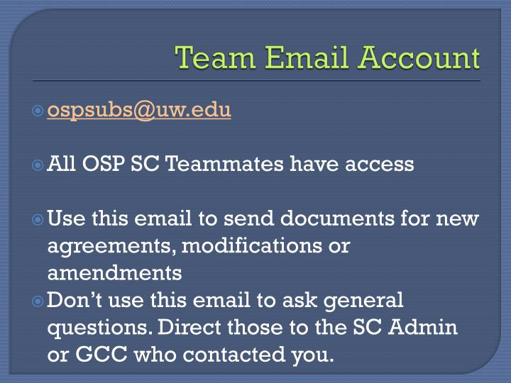 Team Email Account