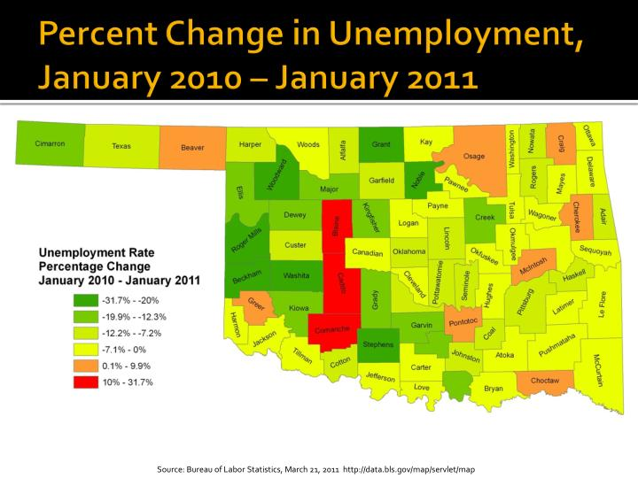 Percent Change in Unemployment, January 2010 – January 2011