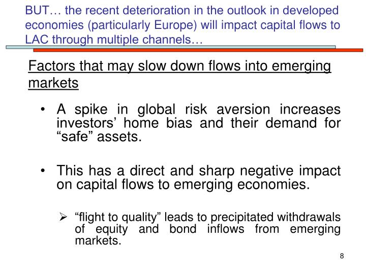 BUT… the recent deterioration in the outlook in developed  economies (particularly Europe) will impact capital flows to LAC through multiple channels…