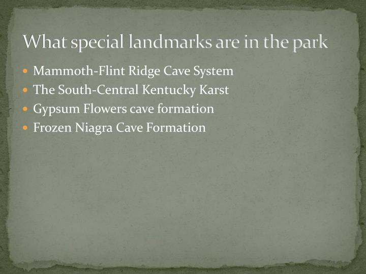 What special landmarks are in the park