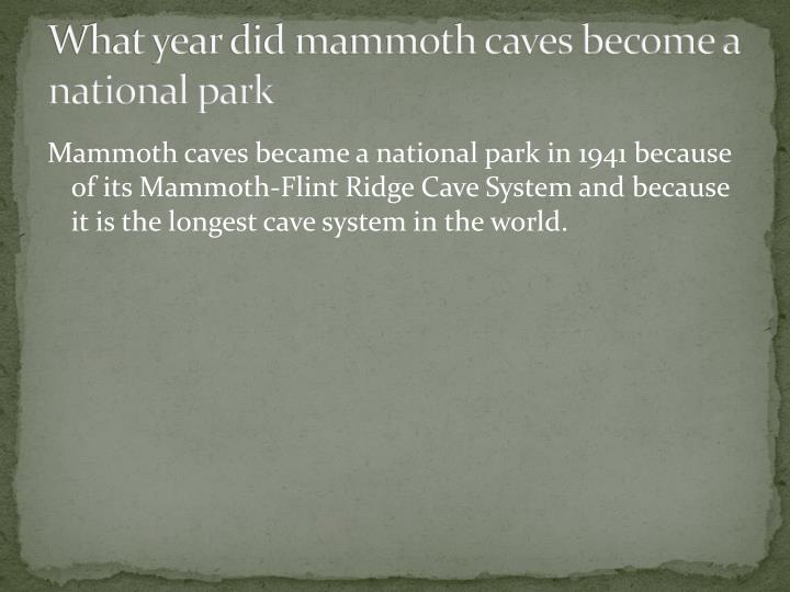 What year did mammoth caves become a national park